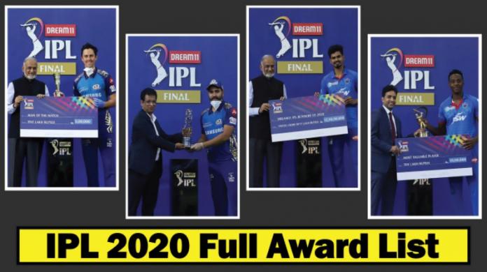 IPL 2020 full Award winners list