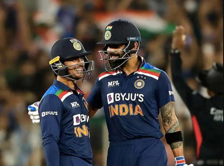 Virat Kohli comforts Ishan Kishan after his maiden 50 in International match