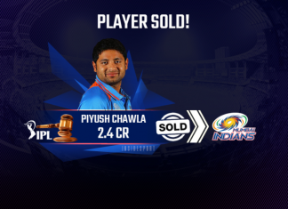 Piyush Chawla has been roped by Mumbai Indians for Rs. 2.4 crores in IPL 2021 Auction