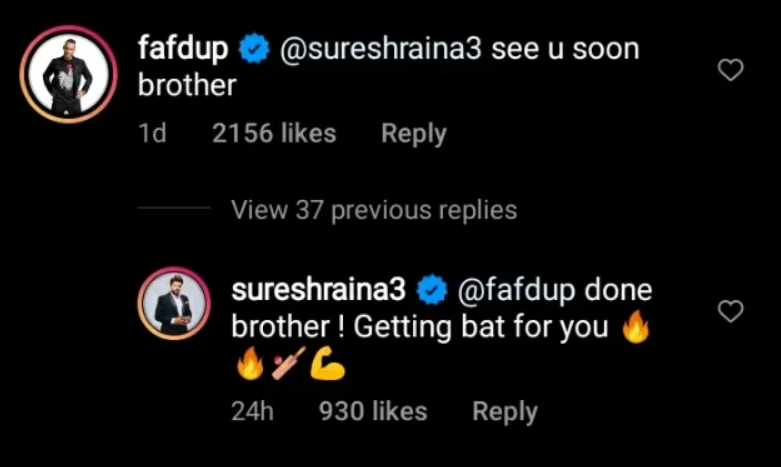 Suresh Raina Reply to faf du plessis