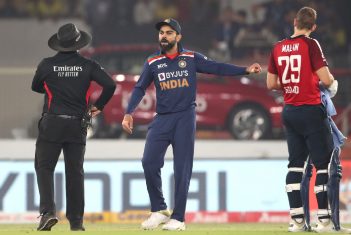 During the series-deciding 5th T20I between India and England, a heated exchange between Virat Kohli and Jos Buttler happened.