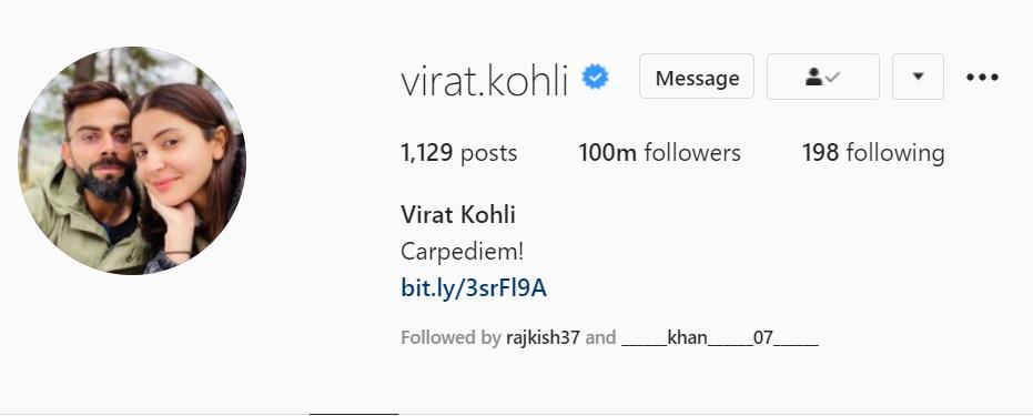 Virat Kohli reaches100m followers in Instagram