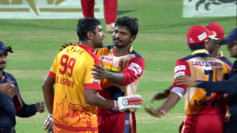 Ashwin and Narayan had a verbal spat and physical tussle with the bowler Kishore