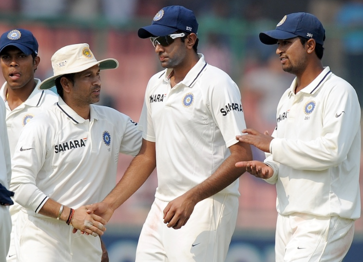 Ashwin got his Test debut cap from Sachin Tendulkar