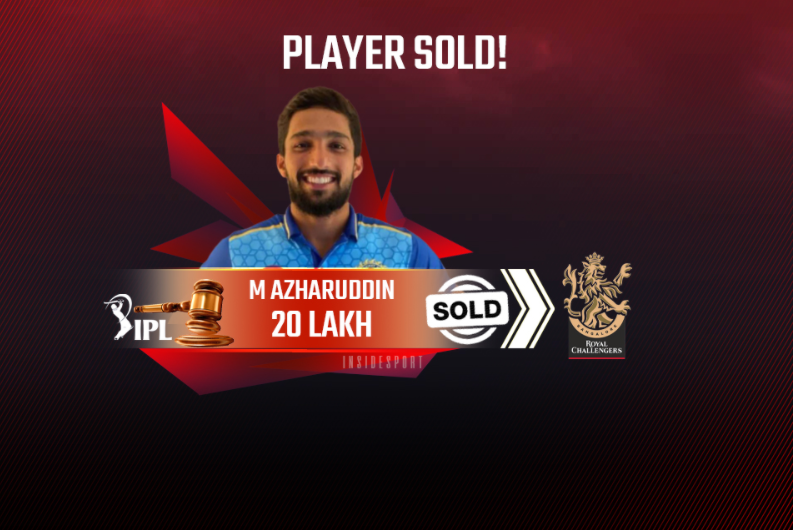 Mohammed Azharuddeen roped by RCB for Rs. 20L in IPL 2021 Auction