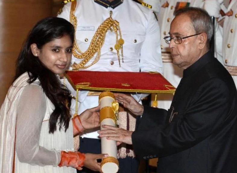 "Mithali Raj receives Padma Shri"" Award in the year 2015."
