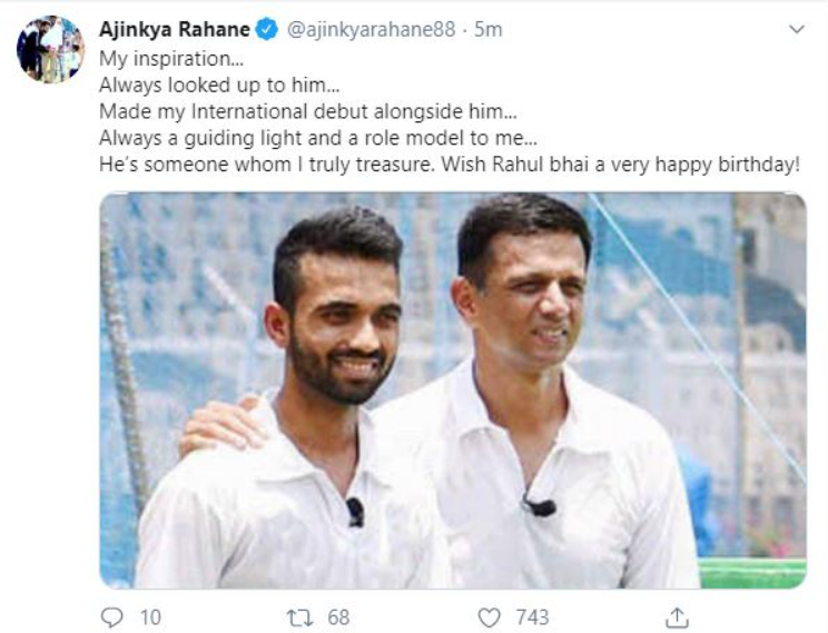 Rahane birthday wishes for Rahul Dravid