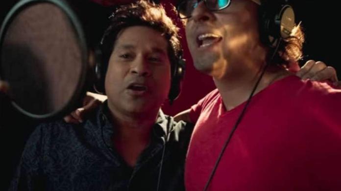 Sachin Tendulkar singing song with Sonu Nigam