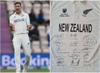 Tim Southee auctions his WTC21 Jersey