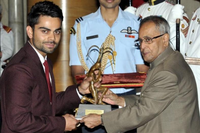 Virat Kohli receives Arjuna Award in 2018