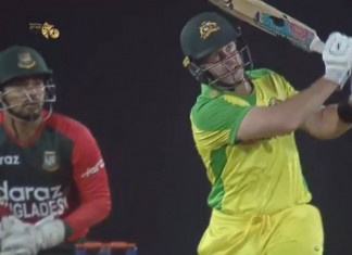 Dan Christian hits 5 sixes in an over against Bangladesh