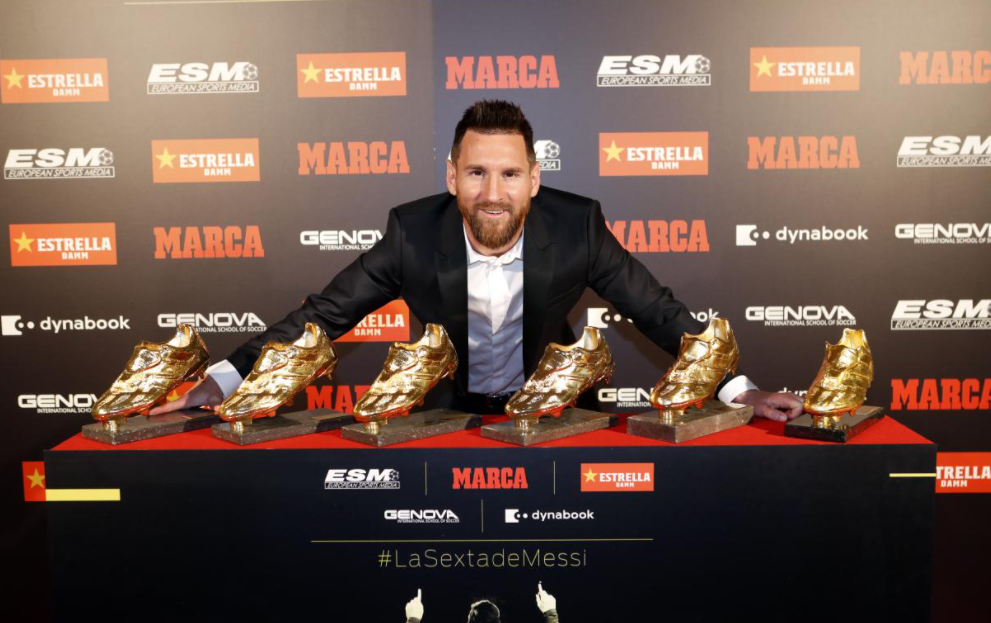 Lionel Messi with his 6 Golden Boots