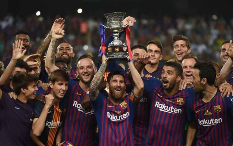 Messi with Spanish Super Cup