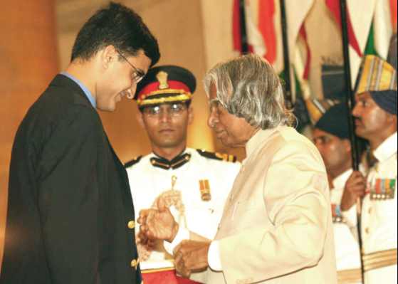 Ganguly received the Padma Shri Award in 2004