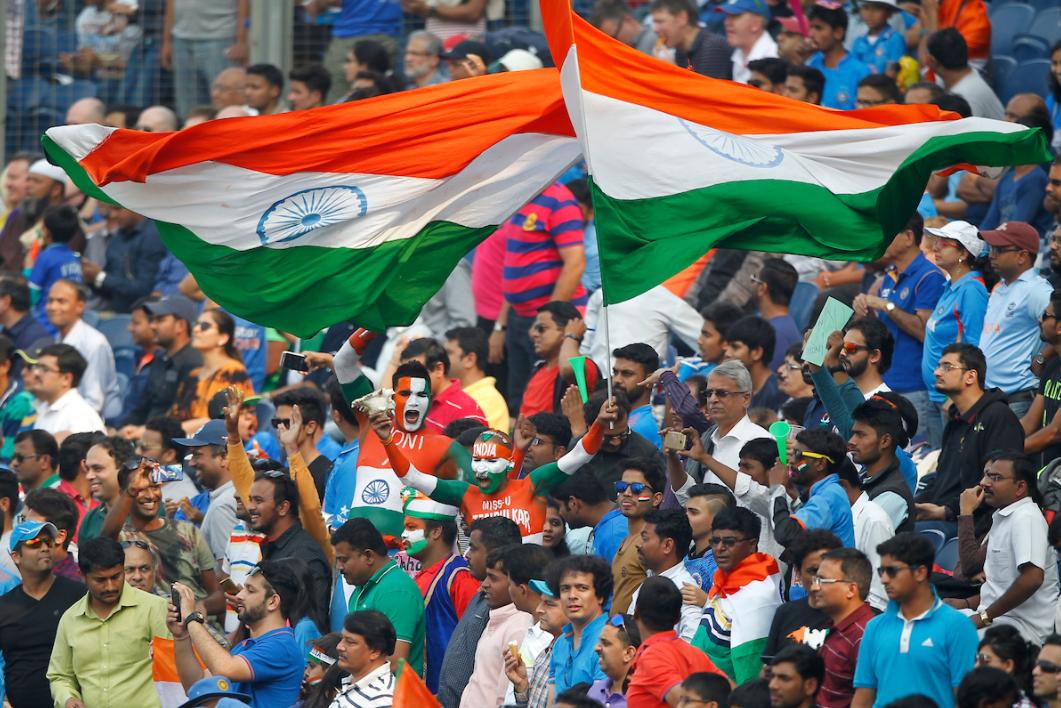 Indian Fans celebrating at stadium