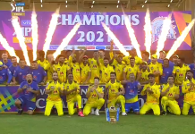 Chennai Super Kings Lifts the IPL 2021 trophy
