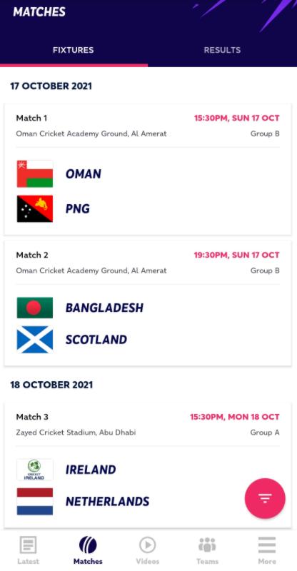 Official T20 WC 2021 App